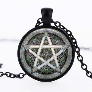 Jewelry - Gray Pentagram Wiccan Star Glass Cabochon Necklace